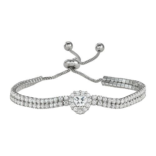 Sterling Silver Double Row Cubic Zirconia Adjustable Heart Bracelet