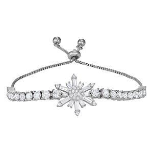 Sterling Silver Cubic Zirconia Adjustable Snowflake Bracelet