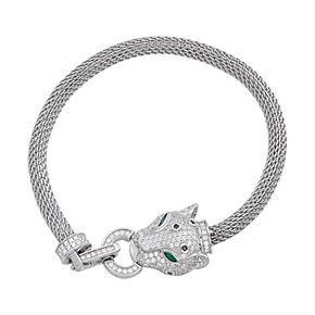 Sterling Silver Cubic Zirconia Panther Mesh Bracelet