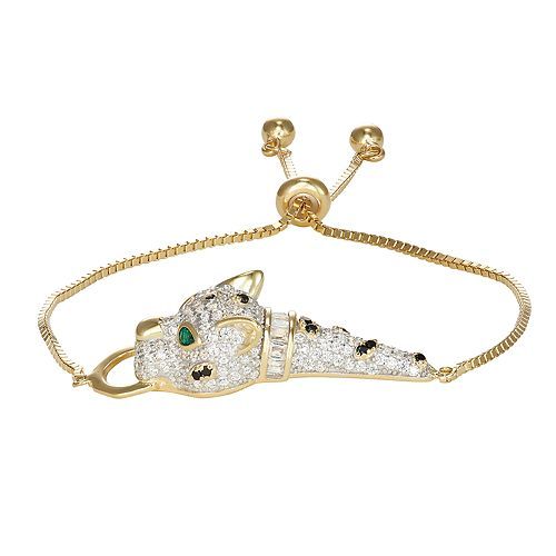 14k Gold Over Silver Cubic Zirconia Panther Adjustable Bracelet