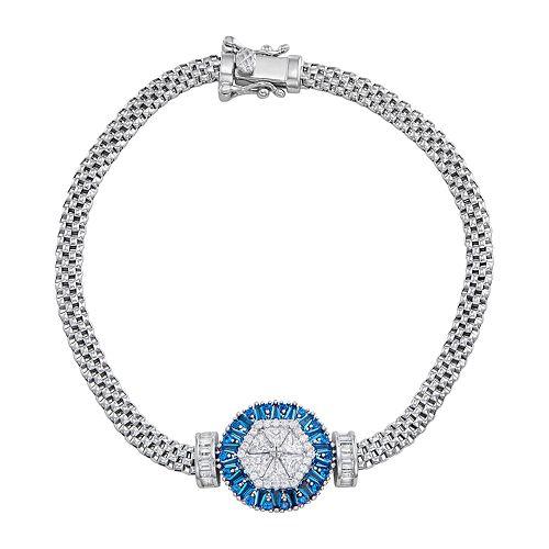 Sterling Silver Blue Cubic Zirconia Baguette Disc Mesh Bracelet