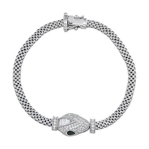 Sterling Silver Cubic Zirconia Snake Mesh Bracelet