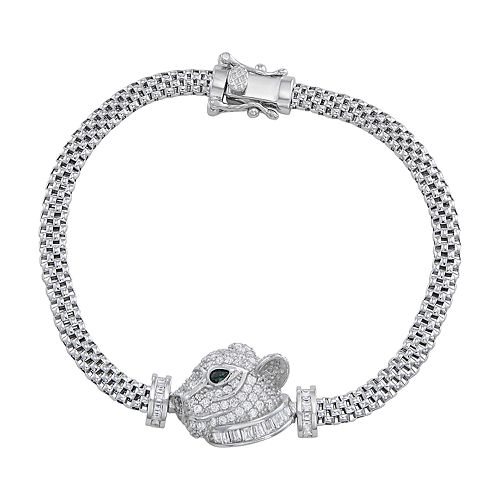 Sterling Silver Cubic Zirconia Panther Mesh Bracelet