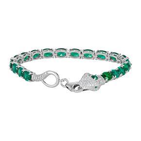 Sterling Silver Simulated Emerald Snake Bracelet