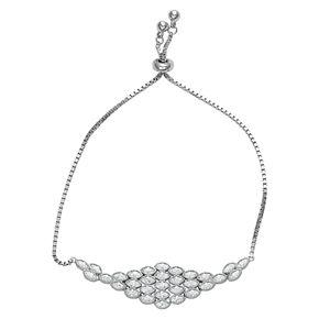 Sterling Silver Cubic Zirconia Art Deco Adjustable Bracelet