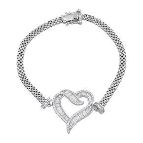 Sterling Silver Cubic Zirconia Heart Mesh Bracelet