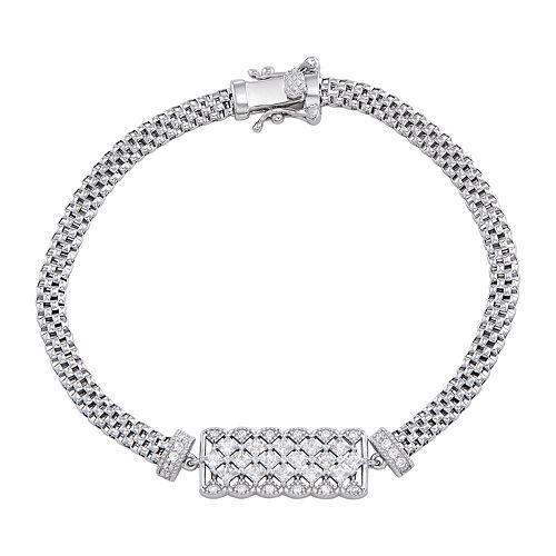 Sterling Silver Cubic Zirconia Bar Mesh Bracelet