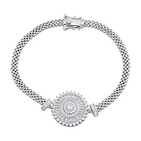 Sterling Silver Cubic Zirconia Baguette Disk Mesh Bracelet