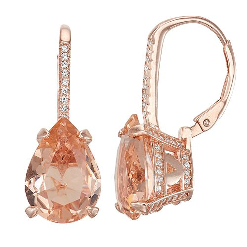 14k Rose Gold Over Silver Simulated Morganite Teardrop Leverback Earrings