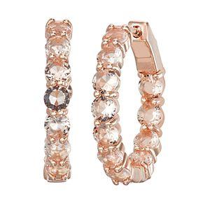 14k Rose Gold Over Silver Simulated Morganite Hoop Earrings