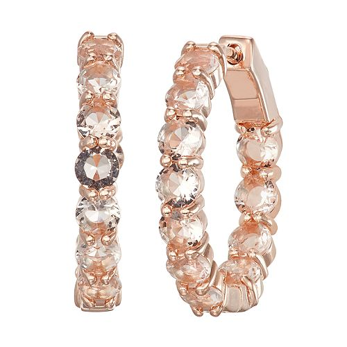 14k Rose Gold Over Silver Simulated Morganite Hoop Earrings