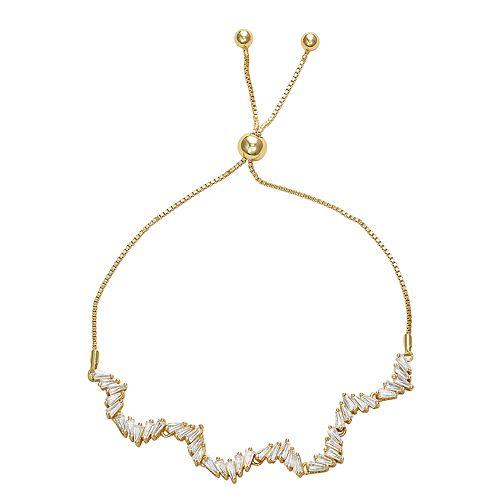 14k Gold Over Silver Cubic Zirconia Baguette Free-Form Adjustable Bracelet