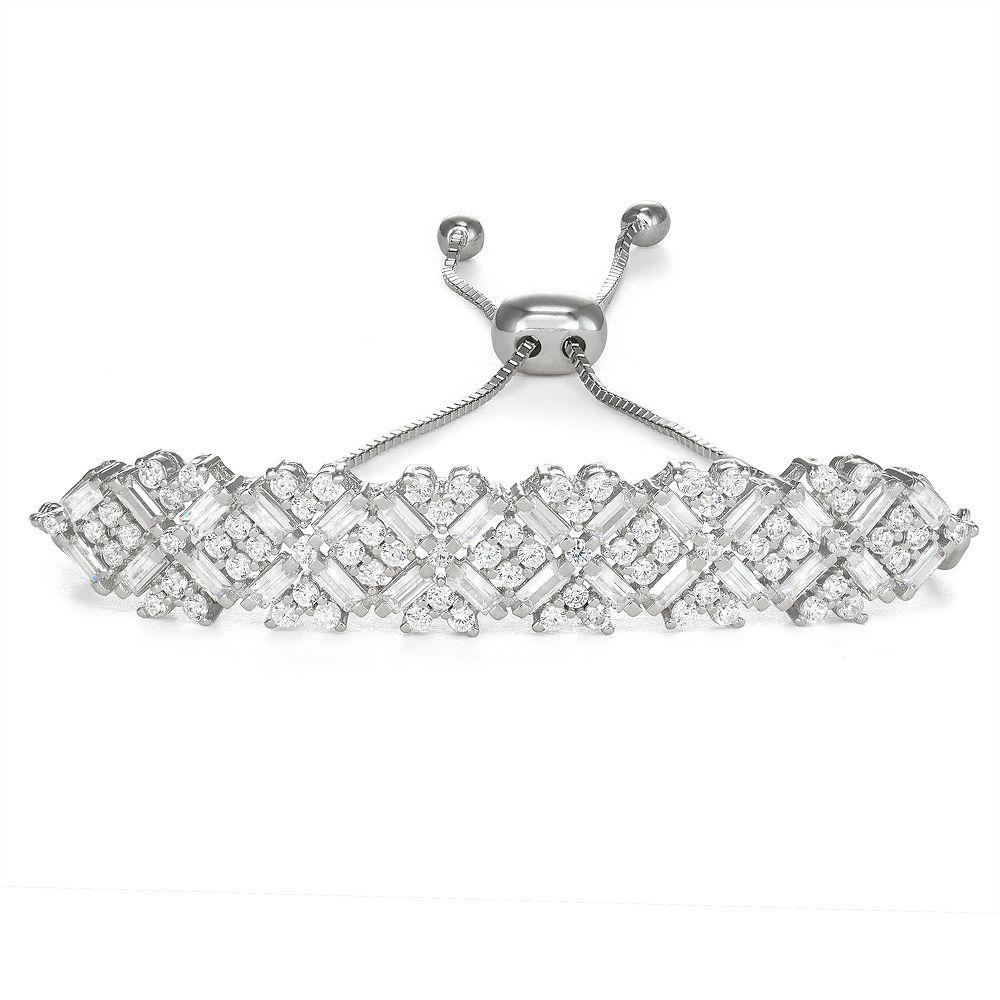 Sterling Silver Cubic Zirconia Crossover Bar Adjustable Bracelet