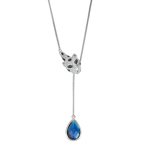 Sterling Silver Simulated Sapphire Panther Necklace