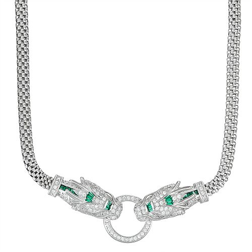 Sterling Silver Cubic Zirconia Panther Mesh Necklace