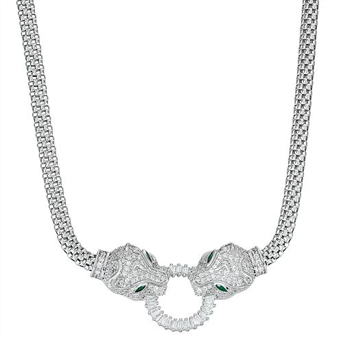 Sterling Silver Cubic Zirconia Dragon Mesh Necklace