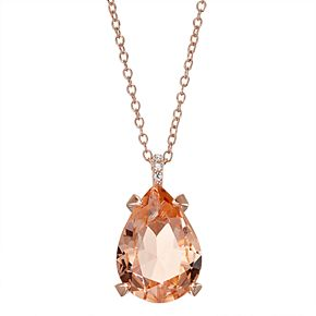 14k Rose Gold Over Silver Simulated Morganite Teardrop Pendant Necklace