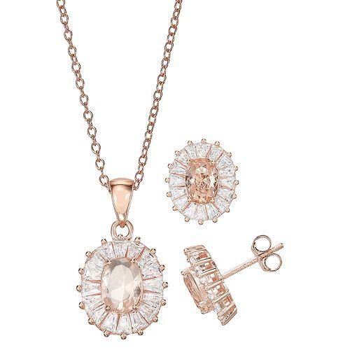 14k Rose Gold Over Silver Simulated Morganite Pendant & Earring Set