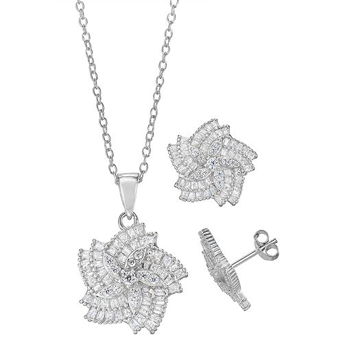 Sterling Silver Cubic Zirconia Pendant & Stud Earring Set