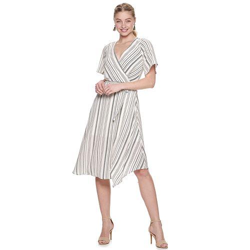 Juniors' Trixxi Print Faux-Wrap Midi Dress