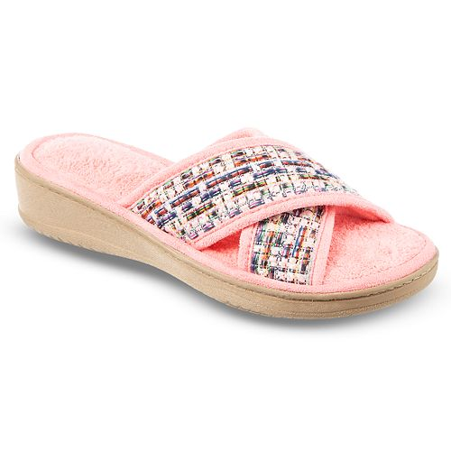 Women's Isotoner Nikki Microterry Criss-Cross Slide Slippers