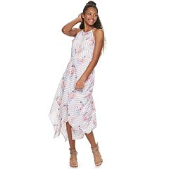 1664f0f37369 Juniors  Candie s® Floral Handkerchief-Hem Halter Dress