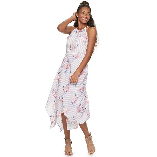 Juniors' Candie's® Floral Handkerchief-Hem Halter Dress