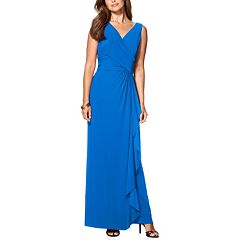 Women's Chaps Surplice Gathered-Side Evening Dress