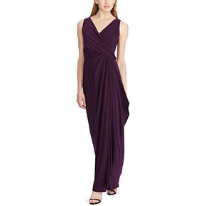 Women's Chaps Surplice Gathered-Side Evening Dress
