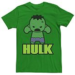 Men's Marvel Kawaii Art Collection The Incredible Hulk Graphic Tee