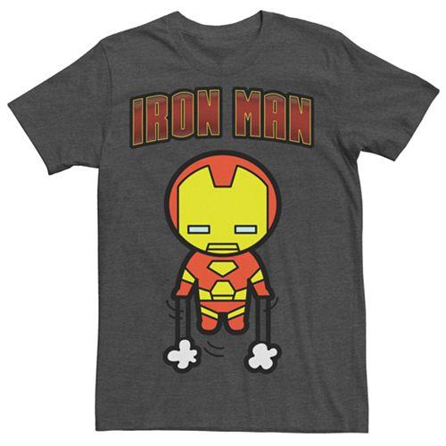 Men's Marvel Kawaii Art Collection Iron Man Graphic Tee