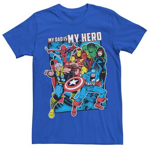 """Men's Marvel Avengers """"Dad is my Hero"""" Graphic Tee"""
