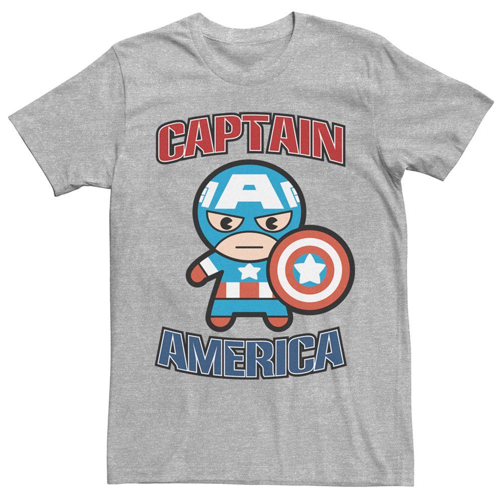 Men's Marvel Kawaii Art Collection Captain America Graphic Tee