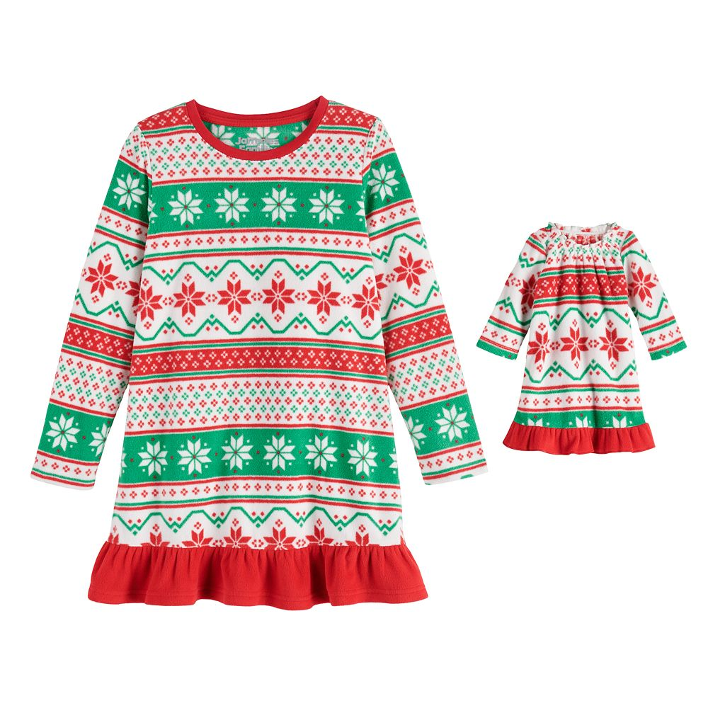 """Girls 4-16 Jammies For Your Families® """"We Jingled"""" Microfleece Nightgown & Matching Doll Gown"""