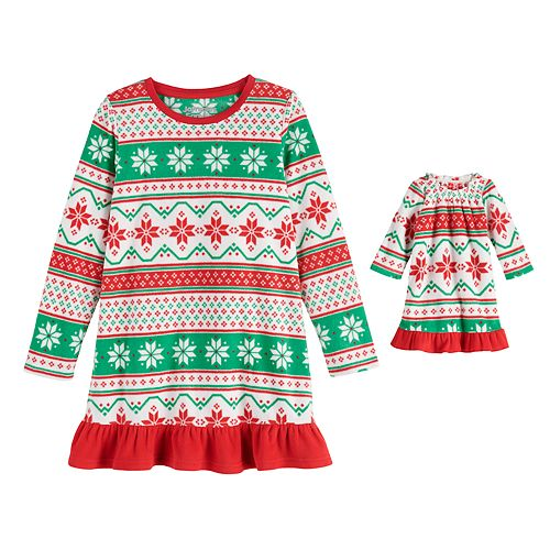 """Girls 4-16 Jammies For Your Families """"We Jingled"""" Microfleece Nightgown & Matching Doll Gown"""