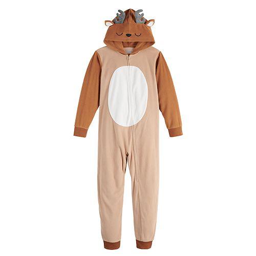 Kids 4-20 Jammies For Your Families Merry Christmas Family Reindeer Microfleece One-Piece Pajamas