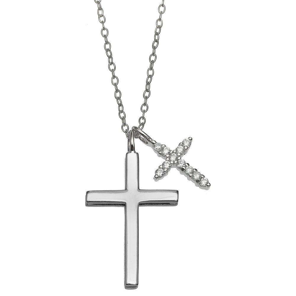 PRIMROSE Sterling Silver Cubic Zirconia Double Cross Pendant Necklace