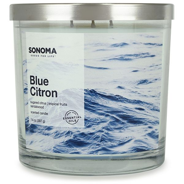 Sonoma Goods For Life Blue Citron 14oz 3 Wick Candle Jar
