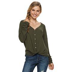 Juniors' Mudd® Waffle-Knit Button Front Long Sleeve Top