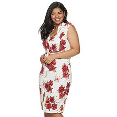 Juniors' Plus Size Almost Famous Print Zip-Front BodyCon Dress