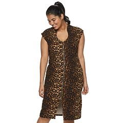 Juniors' Plus Size Almost Famous Print Zip-Front BodyCon Dress