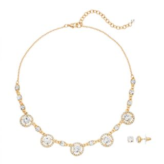 Napier Simulated Crystal Necklace & Stud Earring Set