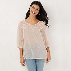 Women's LC Lauren Conrad Printed Chiffon Peasant Top