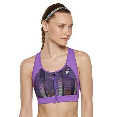 FILA SPORT® Zip Front Medium-Impact Sports Bra