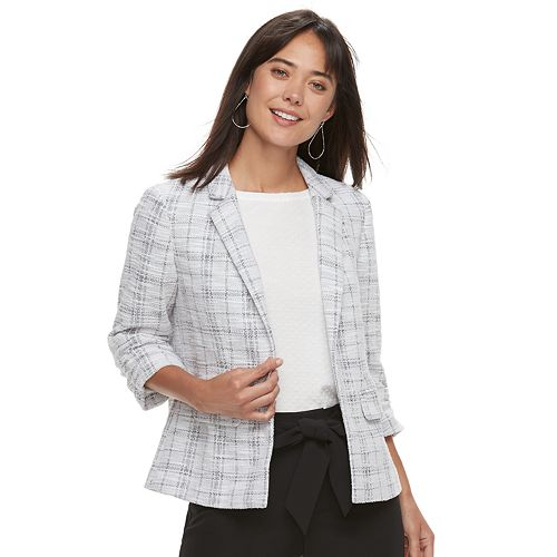 Women's ELLE™ Tweed Ruched-Sleeve Blazer