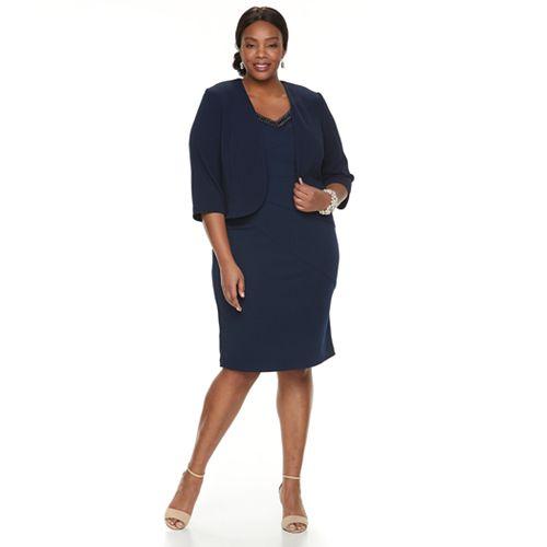 14e456ac40dd Plus Size Maya Brooke Embellished Dress & Jacket Set