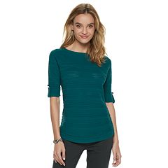 Women's Apt. 9® Shadow-Stripe Ruched Sweater