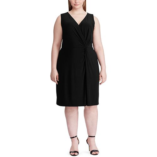 Plus Size Chaps Gathered-Knot Sheath Sleeveless Dress