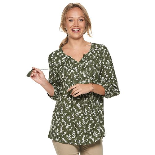 e766c8256ab5d6 Women's SONOMA Goods for Life™ Printed Pintuck Peasant Top