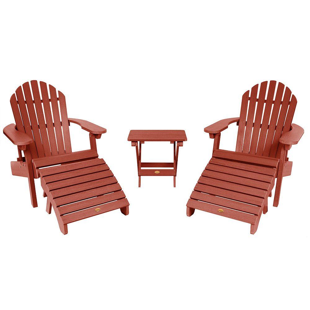 highwood Set of 2 Hamilton Folding & Reclining Adirondack Chairs, 2 Folding Ottomans, 1 Folding Side Table